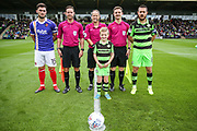 Officials, captains and mascot during the EFL Sky Bet League 2 match between Forest Green Rovers and Exeter City at the New Lawn, Forest Green, United Kingdom on 9 September 2017. Photo by Shane Healey.