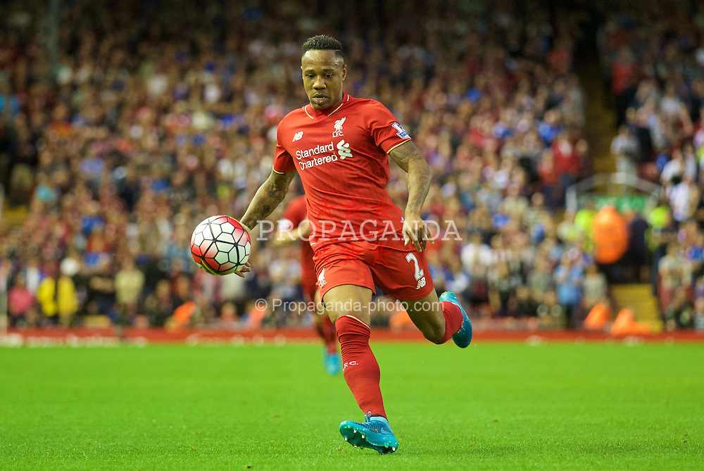 LIVERPOOL, ENGLAND - Monday, August 17, 2015: Liverpool's Nathaniel Clyne in action against AFC Bournemouth during the Premier League match at Anfield. (Pic by David Rawcliffe/Propaganda)
