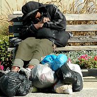 a homeless woman in Santa Monica, Ca