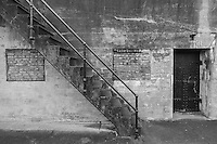 Stairs leading down from the top of the Valleau battery at Fort Casey