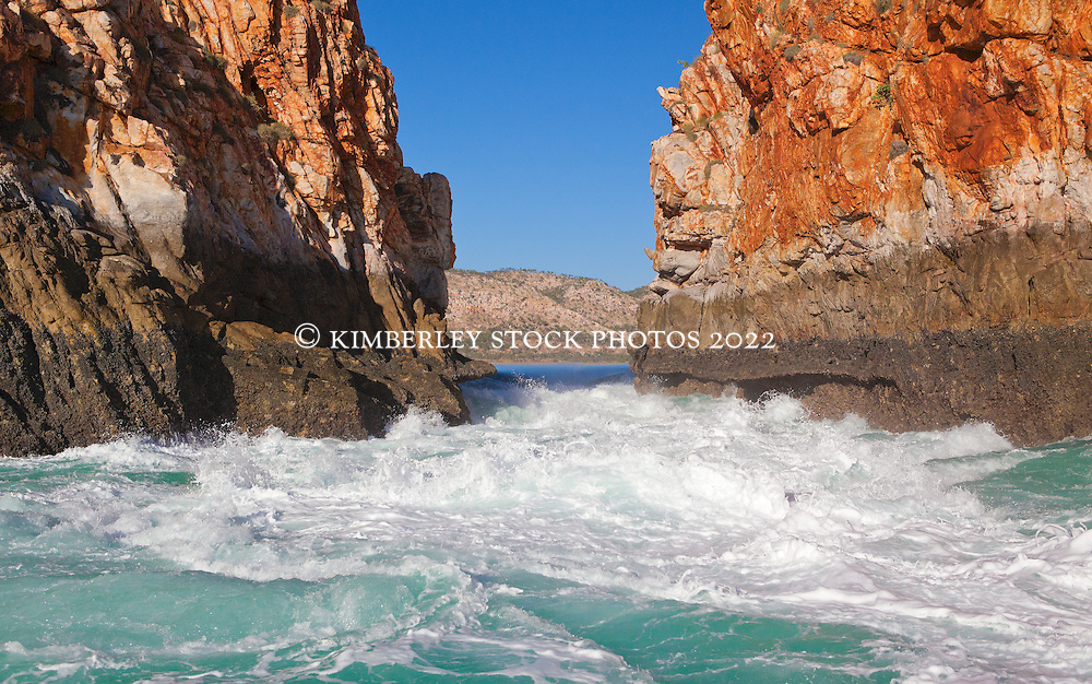 An outgoing tide at the Horiztonal Waterfalls, Talbot Bay on the Kimberley coast.