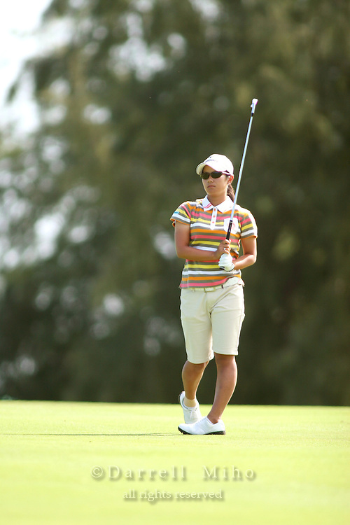 February 17, 2006; Kahuku, HI - Ai Miyazato watches her approach shot during the second round at the LPGA SBS Open at Turtle Bay Resort...Mandatory photo credit: Darrell Miho.© Darrell Miho