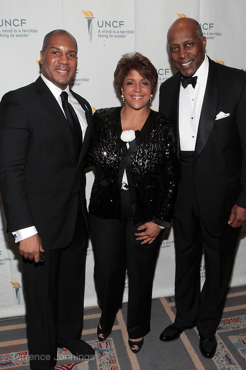 3 March 2011- New York, NY-  l to r: Stephen Barr, Linda Johnson, and Vernon Jordan at the UNCF ' A Mind is'  Gala held at the Marriott Marquis Hotel on March 3, 2011 in New York City. Photo Credit: Terrence Jennings