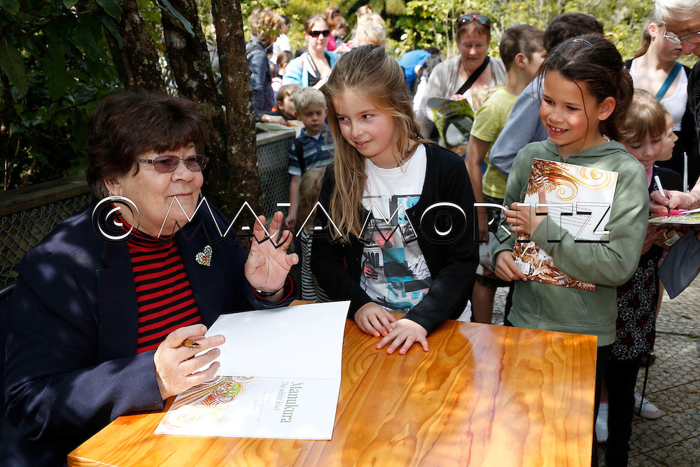 """Joy Cowley during a public reading event for children and launch of her new book """"Manukura, The White Kiwi"""", Pukaha Mount Bruce Wildlife Park, New Zealand"""