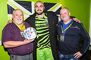 Match ball sponsors KB Coaches with Man of the match Forest Green Rovers Farrend Rawson(6) during the EFL Sky Bet League 2 match between Forest Green Rovers and Scunthorpe United at the New Lawn, Forest Green, United Kingdom on 7 December 2019.