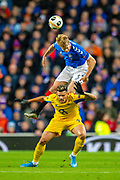 Filip Helander (#5) of Rangers FC wins a header against Francisco Soares (#29) of FC Porto during the Group G Europa League match between Rangers FC and FC Porto at Ibrox Stadium, Glasgow, Scotland on 7 November 2019.