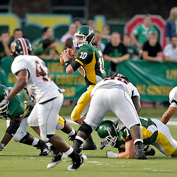 10 September 2009:  Southeastern Louisiana Lions quarterback Brian Babin (10) during a game between Southeastern Louisiana University Lions and Union College at Strawberry Stadium in Hammond, Louisiana.