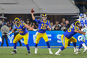 Jan 12, 2019; Los Angeles, CA, USA; Los Angeles, CA, USA;  Los Angeles Rams quarterback Jared Goff (16) drops back to throw a pass against the Dallas Cowboys during an NFL divisional playoff game at the Los Angeles Coliseum. The Rams beat the Cowboys 30-22. (Kim Hukari/Image of Sport)