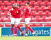 Crewe Alexandra forward Chuma Anene celebrate his goal with team-mates during the EFL Sky Bet League 2 match between Crewe Alexandra and Exeter City at Alexandra Stadium, Crewe, England on 5 October 2019.
