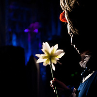 "London, UK - 3 November 2013: Ekaterina Voevodkina holds a flower in the dark backstage of The Moscow State Circus ""Park Gorkogo""."
