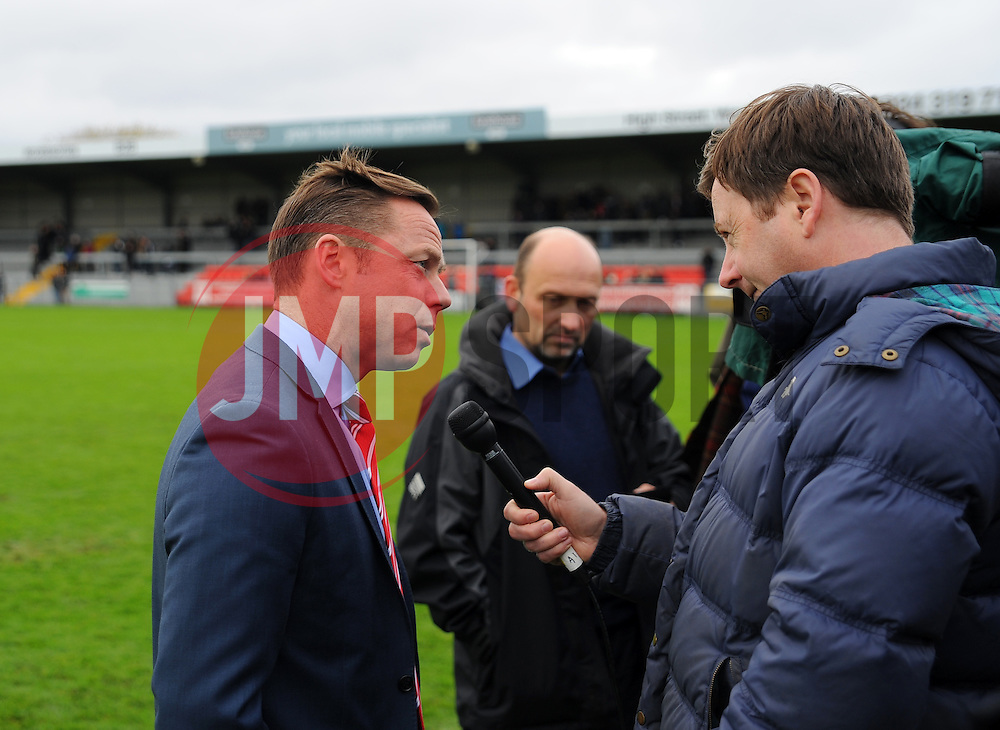 Doncaster Rovers manager Paul Dickov is interviewed after the match is postponed. - Photo mandatory by-line: Nizaam Jones - Mobile: 07583 387221 - 08/11/2014 - SPORT - Football - Weston-super-Mare - Woodspring Stadium - WSM v Doncaster - Sport - Round One