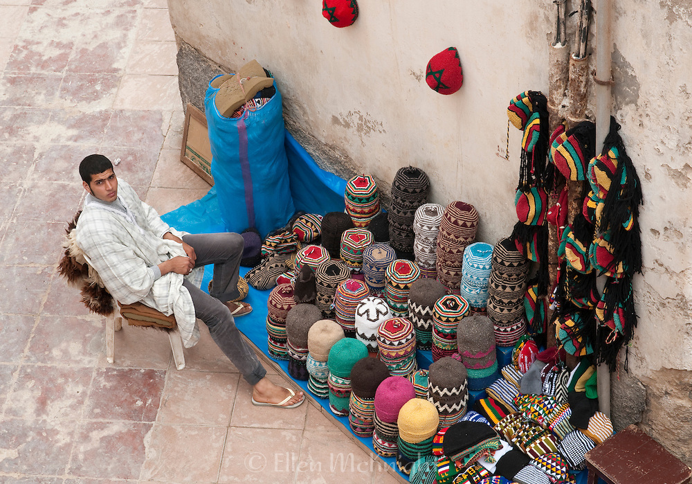 Man selling hats in Essaouira, Morocco
