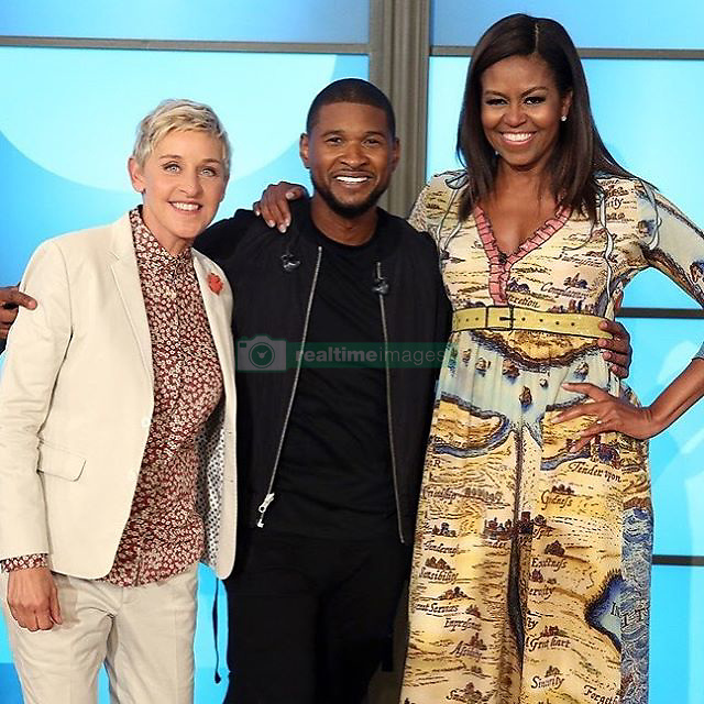 "Ellen DeGeneres releases a photo on Instagram with the following caption: ""I love @Usher! So does Shelly!"". Photo Credit: Instagram *** No USA Distribution *** For Editorial Use Only *** Not to be Published in Books or Photo Books ***  Please note: Fees charged by the agency are for the agency?s services only, and do not, nor are they intended to, convey to the user any ownership of Copyright or License in the material. The agency does not claim any ownership including but not limited to Copyright or License in the attached material. By publishing this material you expressly agree to indemnify and to hold the agency and its directors, shareholders and employees harmless from any loss, claims, damages, demands, expenses (including legal fees), or any causes of action or allegation against the agency arising out of or connected in any way with publication of the material."