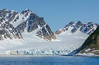 Glacier in Hamburgbukta on the northwest coast of Spitzbergen in Svalbard, Norway.