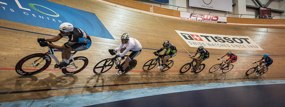 Six riders practice at the Velo Sports Center in Carson, CA on November 3, 2016.