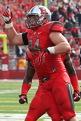 Sept 8, 2012; Piscataway, NJ, USA; Rutgers Scarlet Knights defensive tackle Scott Vallone (94) celebrates his first half fumble recovery during the first half at High Point Solutions Stadium.