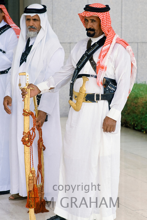Ceremonial armed guards at the King's Palace in Riyadh, Saudi Arabia