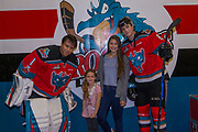 KELOWNA, CANADA - NOVEMBER 14:  Home Hardware Stick Girl with James Porter #1 of the Kelowna Rockets and Jack Cowell #8 of the Kelowna Rockets at the Kelowna Rockets game on November 14, 2017 at Prospera Place in Kelowna, British Columbia, Canada.  (Photo By Cindy Rogers/Nyasa Photography,  *** Local Caption ***