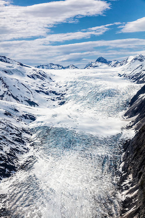 Aerial view of Whiteout Glacier in Chugach State Park in Southcentral Alaska. Spring. Afternoon.