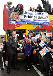 © Licensed to London News Pictures. 03/03/2014; Downend, South Gloucestershire, UK.  Jenny Jones, Olympic Bronze medallist in snowboarding, at her old school Downend School with Chairman of South Gloucestershire Council Ian Boulton, before leaving on an open top bus tour.<br /> Photo credit: Simon Chapman/LNP
