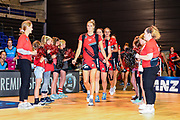 Jane Watson of the Tactix leads the Tactix on to the court during the ANZ Premiership Netball match, Tactix v Steel, Horncastle Arena, Christchurch, New Zealand, 11th February 2019.Copyright photo: John Davidson / www.photosport.nz
