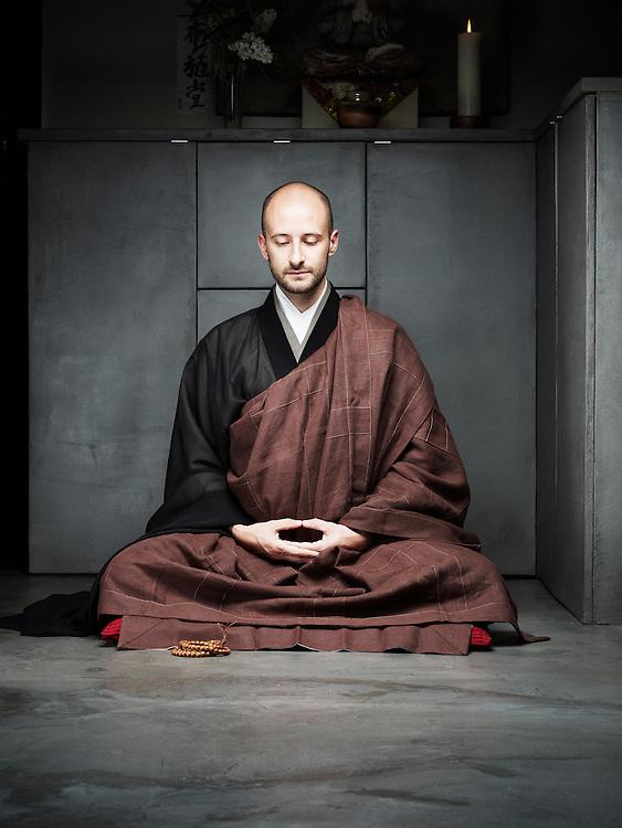 CHAMPIGNY SUR MARNE, FRANCE. MAY 15, 2012. Federico Procopio, a buddhist monk, showing how he meditates. Photo: Antoine Doyen