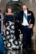 AMSTERDAM - Princess Margriet and pieter van vollenhoven at the annual gala dinner for the Corps Diplomatique at the Royal Palace on Dam Square in Amsterdam. copyright robin utrecht