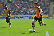 Hull City defender Andrew Robertson (26)  during the Sky Bet Championship match between Hull City and Rotherham United at the KC Stadium, Kingston upon Hull, England on 7 May 2016. Photo by Ian Lyall.