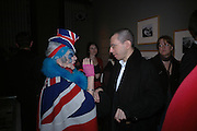 "Anna Piaggi and Jonathan Newhouse. The private views for Anna Piaggi's exhibition ""Fashion-ology"" and also 'Popaganda: the life and style of JC de Castelbajacat' the Victoria & Albert Museum on January 31  2006. © Copyright Photograph by Dafydd Jones 66 Stockwell Park Rd. London SW9 0DA Tel 020 7733 0108 www.dafjones.com"