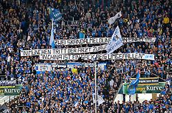 """18.04.2015, Rhein Neckar Arena, Sinsheim, GER, 1. FBL, TSG 1899 Hoffenheim vs FC Bayern Muenchen, 29. Runde, im Bild Fankurve Hoffenheim Suedkurve Transparent Plakat Spruchband """" Zwei Skandalmeldungen an einem Tag: In Muenchen tritt der Arzt zurueck und in China ist ein Sack Reis umgefallen"""" Haeme wegen Medieninteresse an Ruecktritt von Vereinsarzt Mueller-Wohlfahrt Mull // during the German Bundesliga 29th round match between TSG 1899 Hoffenheim and FC Bayern Munich at the Rhein Neckar Arena in Sinsheim, Germany on 2015/04/18. EXPA Pictures © 2015, PhotoCredit: EXPA/ Eibner-Pressefoto/ Weber<br /> <br /> *****ATTENTION - OUT of GER*****"""