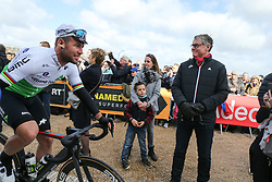 March 10, 2019 - Paris, Ile-de-France, France - Great Britain's Mark Cavendish of team Dimension Data pictured at the start of the 138,5km 1st stage of the 77th Paris-Nice cycling race between Saint-Germain-en-Laye and Saint-Germain-en-Laye in the west suburb of Paris, France, on March 10, 2019. Whether leaders of a team or merely a team-mate, the riders on the Paris-Nice try to excel, either individually or as a team. According to the stage profiles, changes in the general standings or some unexpected circumstance during the race, each rider adapts his objectives to the situation. (Credit Image: © Michel Stoupak/NurPhoto via ZUMA Press)