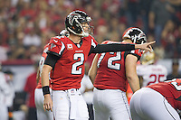 20 January 2013: Quarterback (2) Matt Ryan of the Atlanta Falcons calls an audible against the San Francisco 49ers during the second half of the 49ers 28-24 victory over the Falcons in the NFC Championship Game at the Georgia Dome in Atlanta, GA.