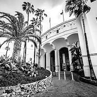 Catalina Island Avalon Casino black and white photo. The Avalon Casino is a historic art deco movie theatre built in 1929 by the Wrigley family. Catalina Island is a popular travel desination off the coast of Southern California in the United States.