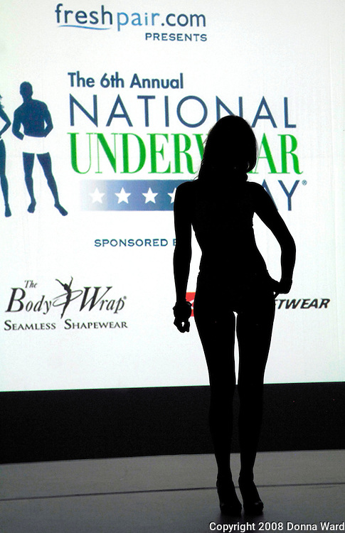 A model appears on the runway at the 6th Annual National Underwear Day event at Espace in New York City, USA on August 5, 2008.