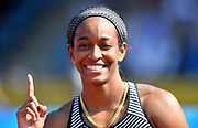 English Gardner (USA) poses after winning the women's 100m in 11.02 during IAAF Birmingham Diamond League meeting at Alexander Stadium on Sunday, June 5, 2016, in Birmingham, United Kingdom. Photo by Jiro Mochizuki