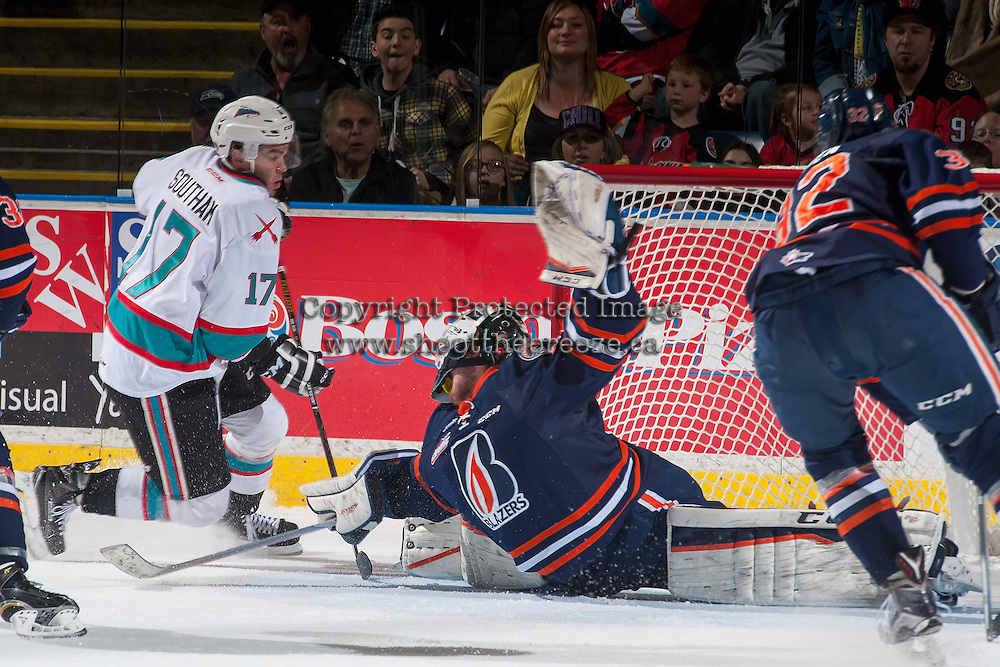 KELOWNA, CANADA - APRIL 1: Rodney Southam #17 of Kelowna Rockets scores his third goal on Connor Ingram #39 of Kamloops Blazers on April 1, 2016 at Prospera Place in Kelowna, British Columbia, Canada.  (Photo by Marissa Baecker/Shoot the Breeze)  *** Local Caption *** Connor Ingram; Rodney Southam;