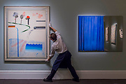 DAVID HOCKNEY, DIFFERENT KINDS OF WATER POURING INTO A SWIMMING POOL, SANTA MONICA, Estimate £ 6,000,000-8,000,000  and MICHELANGELO PISTOLETTO, TENDA BLU (BLUE CURTAIN), Estimate £400,000- 600,000 - Highlights From London's Flagship Sales of Impressionist, Modern, Surrealist & Contemporary Art at Sotheby's London.