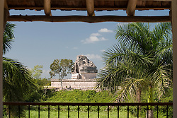 Mexico, Yucatan, Chichen Itza, view of Mayan ruins of El Caracol (the Observatory) from Mayaland Hotel, PR