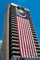 The Agro Bank in Kuala Lumpur donning a huge Malaysian flag during national day celebrations in 2009.