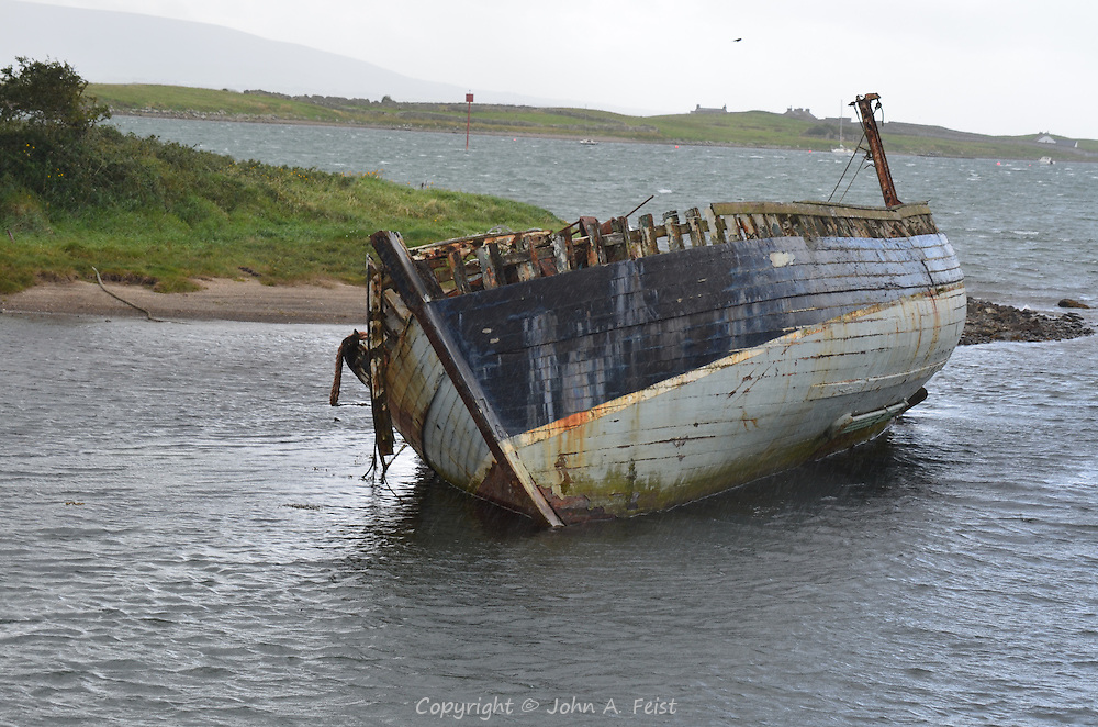 A derelict hull in the waters at Sligo, County Sligo, Ireland.