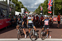Kirsten WILD (NED) Wiggle High5, Amalie DIDERIKSEN (DEN) Boels-Dolmans Cycling Team and Coryn RIVERA (USA) Team Sunweb on the start line being introduced to the crowd ahead of The Prudential RideLondon Classique. Saturday 28th July 2018<br /> <br /> Photo: Ian Walton for Prudential RideLondon<br /> <br /> Prudential RideLondon is the world's greatest festival of cycling, involving 100,000+ cyclists - from Olympic champions to a free family fun ride - riding in events over closed roads in London and Surrey over the weekend of 28th and 29th July 2018<br /> <br /> See www.PrudentialRideLondon.co.uk for more.<br /> <br /> For further information: media@londonmarathonevents.co.uk