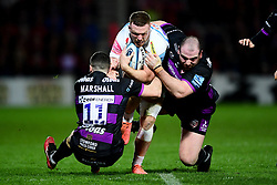 Sam Simmonds of Exeter Chiefs is challenged by Tom Marshall of Gloucester Rugby and Fraser Balmain of Gloucester Rugby - Mandatory by-line: Ryan Hiscott/JMP - 14/02/2020 - RUGBY - Kingsholm - Gloucester, England - Gloucester Rugby v Exeter Chiefs - Gallagher Premiership