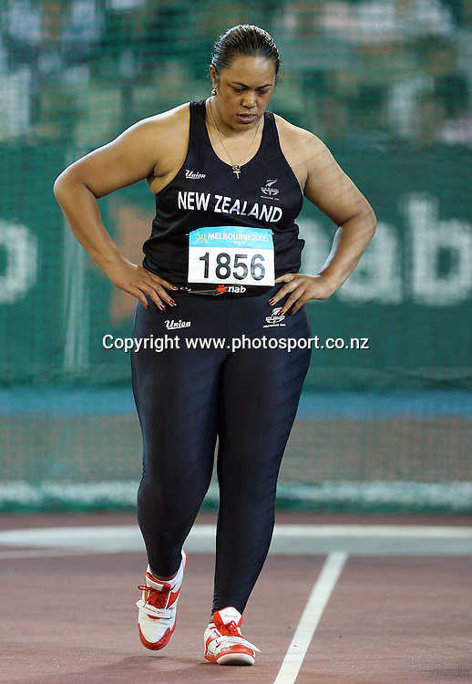 Beatrice Faumuina walks away after finishing 4th in the Women's Discus Final on Day 6 of the XVIII Commonwealth Games at the MCG, Melbourne, Australia on Tuesday 21 March, 2006. Photo: Hannah Johnston/PHOTOSPORT
