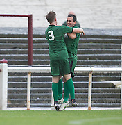 Chris Geddes is congratulated by Gary Phillips after firing Stirling University  into the lead with a fantastic strike from outside the box  - Arbroath v Stirling University FC, William Hill Scottish Cup Second Round at Gayfield, Arbroath. Photo: David Young<br /> <br />  - &copy; David Young - www.davidyoungphoto.co.uk - email: davidyoungphoto@gmail.com