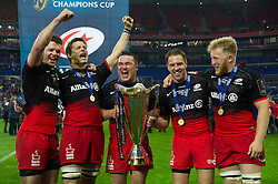 Duncan Taylor, Michael Rhodes, Jamie George, Chris Wyles and Jackson Wray of Saracens with the European Rugby Champions Cup trophy - Mandatory byline: Patrick Khachfe/JMP - 07966 386802 - 14/05/2016 - RUGBY UNION - Grand Stade de Lyon - Lyon, France - Saracens v Racing 92 - European Rugby Champions Cup Final.
