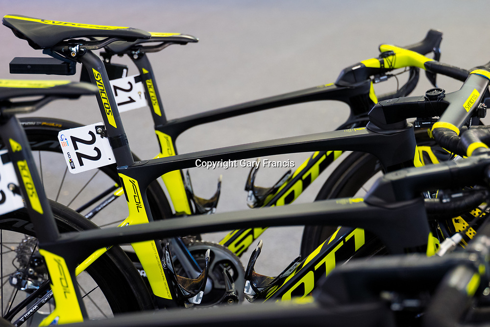 Daryl Impey bike 22 ready to go at team village before the start of Stage 6, Adelaide City Circuit, of the Tour Down Under, Australia on the 21 of January 2018 ( Credit Image: © Gary Francis / ZUMA WIRE SERVICE )