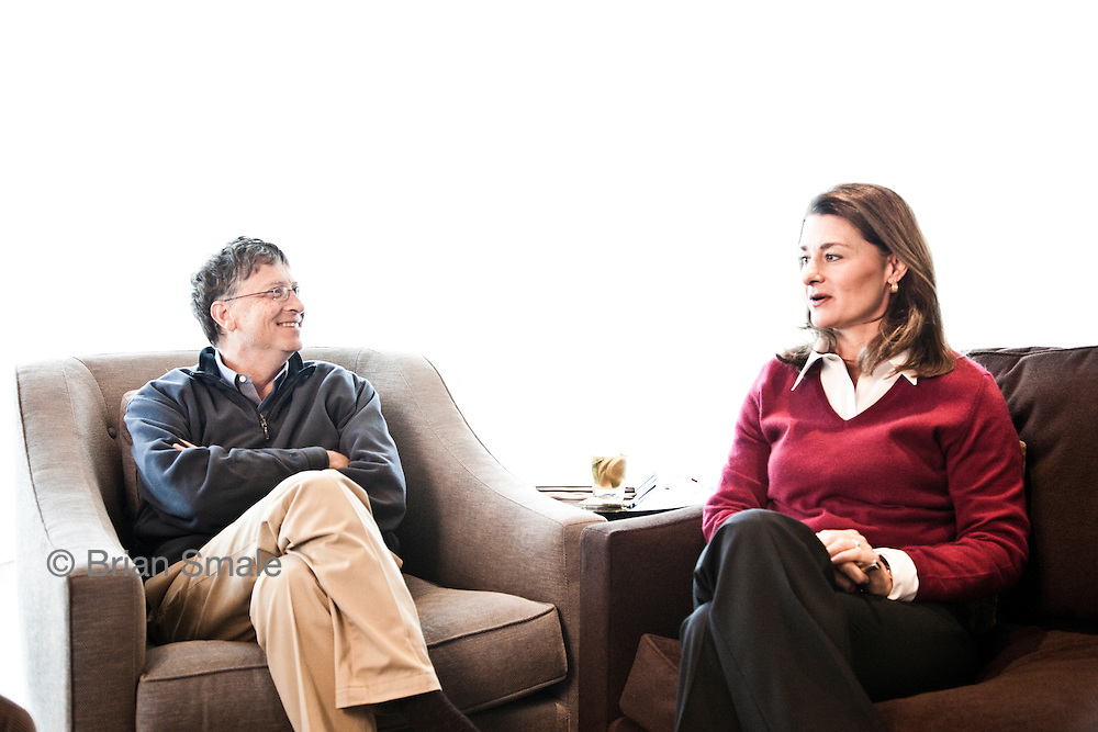 Bill and Melinda Gates.  Photographed in Bill Gates' offices, in Kirkland, WA for Fortune Magazine.