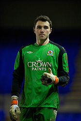 BIRKHENHEAD, ENGLAND - Monday, February 28, 2011: Blackburn Rovers' goalkeeper Jake Kean in action against Liverpool during the FA Premiership Reserves League (Northern Division) match at Prenton Park. (Photo by David Rawcliffe/Propaganda)
