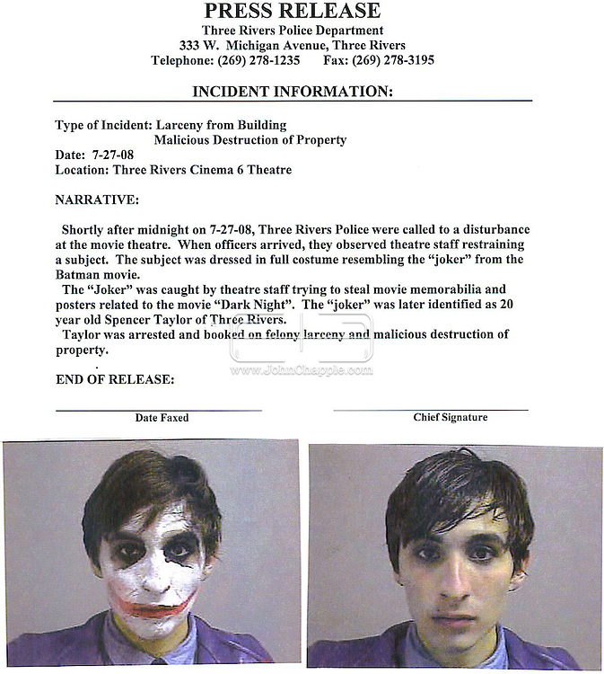 "28th July 2008, Three Rivers, Michigan. Spencer Taylor who was arrested  for allegedly trying to steal Batman posters and other collectibles from a theater showing ""The Dark Knight."". The 20-year-old was charged with larceny and malicious destruction of property, and had to pose for booking photos in and out of character. PHOTO SUPPLIED BY JOHN CHAPPLE / REBEL IMAGES."
