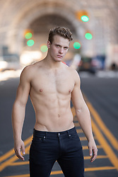 shirtless muscular man in New York City